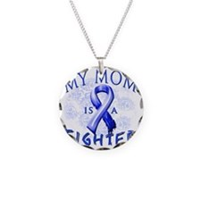 My Mom Is A Fighter Blue Necklace Circle Charm