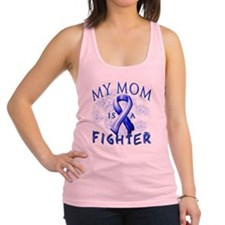 My Mom Is A Fighter Blue Racerback Tank Top
