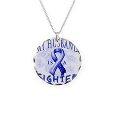 My Husband Is A Fighter Blue Necklace