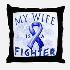My Wife Is A Fighter Blue Throw Pillow