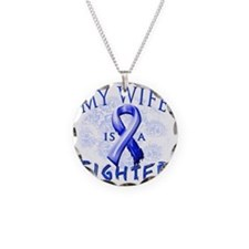 My Wife Is A Fighter Blue Necklace Circle Charm