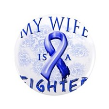 """My Wife Is A Fighter Blue 3.5"""" Button"""