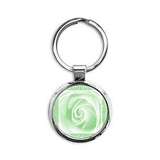 MistGreen_lace_Rose_PILLOW Round Keychain