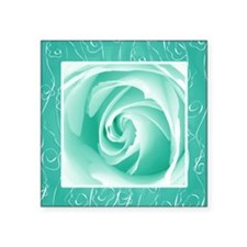 "Seafoam_lace_Rose_PILLOW Square Sticker 3"" x 3"""