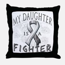 My Daughter Is A Fighter Grey Throw Pillow