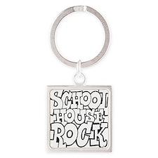 3-schoolhouserock_BW Square Keychain