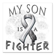"My Son Is A Fighter Grey Square Car Magnet 3"" x 3"""