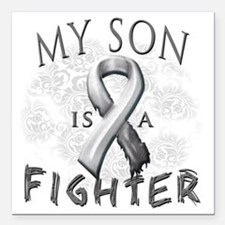 """My Son Is A Fighter Grey Square Car Magnet 3"""" x 3"""""""