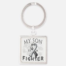 My Son Is A Fighter Grey Square Keychain
