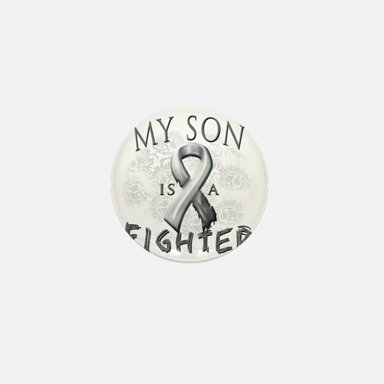 My Son Is A Fighter Grey Mini Button