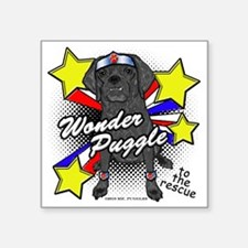 "Wonder Puggle Square Sticker 3"" x 3"""