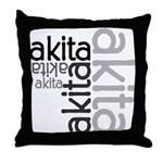 Akita Multi Throw Pillow