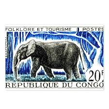 Vintage 1965 Congo Elephant Postage Stamp Postcard