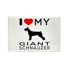 I Love My Giant Schnauzer Rectangle Magnet (100 pa