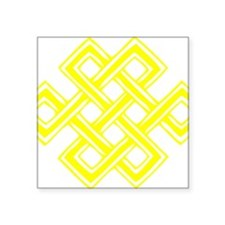 "Endless_Knot_Yellow Square Sticker 3"" x 3"""