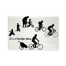 Thru the Ages Cycling Design Rectangle Magnet
