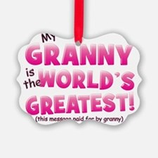 Worlds Greatest Granny pink Ornament