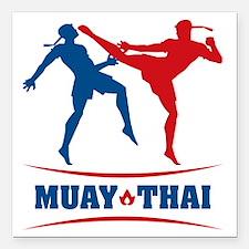 "muay thai mma kickboxing Square Car Magnet 3"" x 3"""