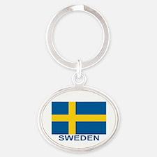 sweden-flag-lebeled Oval Keychain