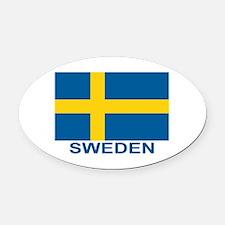 sweden-flag-lebeled Oval Car Magnet