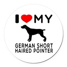 I Love My German Shorthaired Pointer Round Car Mag