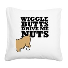 wigglebutts-black Square Canvas Pillow