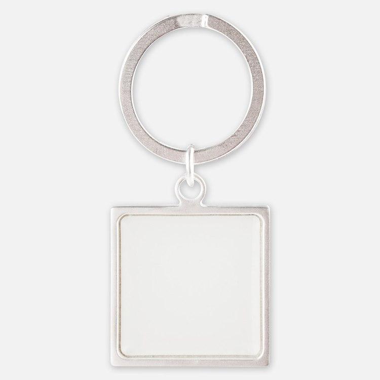 10x10 Center White Square Keychain
