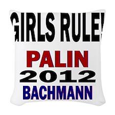 palin_bachmann_girlrule Woven Throw Pillow