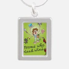 winemoms_logo Silver Portrait Necklace