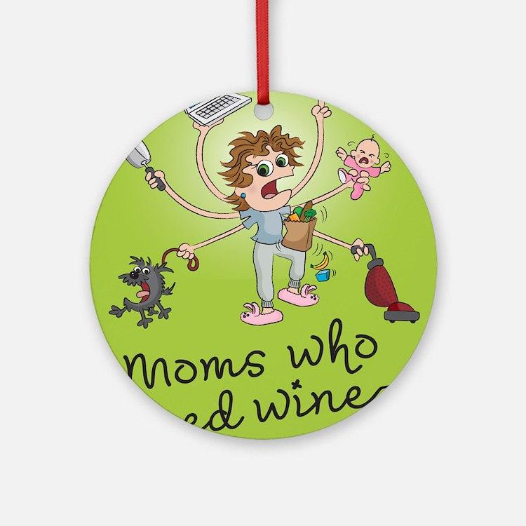 winemoms_logo Round Ornament