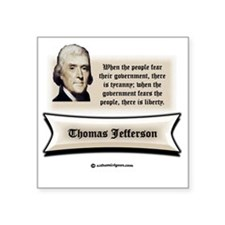 "Jefferson resistance white  Square Sticker 3"" x 3"""