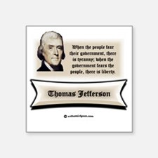 """Jefferson resistance white  Square Sticker 3"""" x 3"""""""