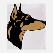 _356_DobermanProfile cafe Throw Blanket