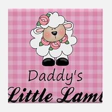 little lamb girl 2 Tile Coaster