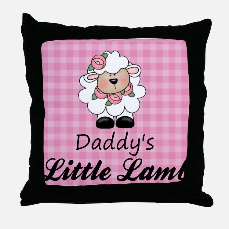 little lamb girl 2 Throw Pillow