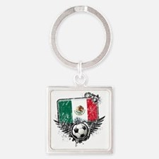 Soccer fan Mexico Square Keychain