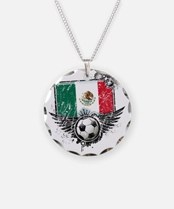 Soccer fan Mexico Necklace Circle Charm