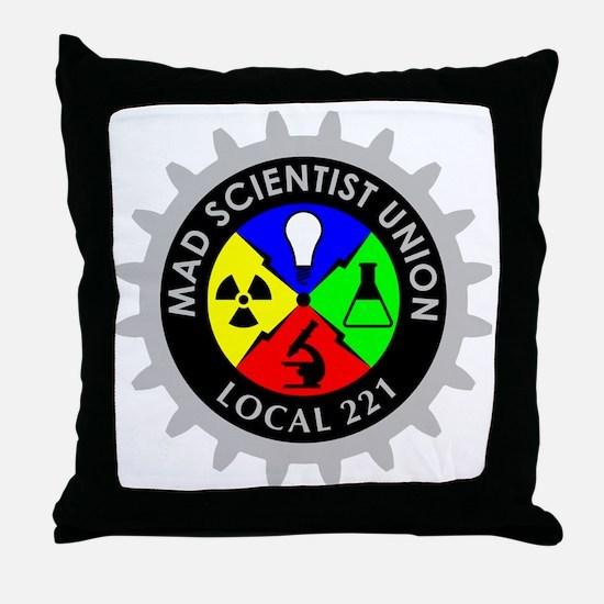 mad_scientist_union_logo_dark Throw Pillow