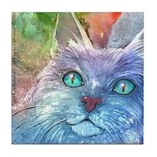 Blue, Bodacious, Beautiful Feline Tile Coaster