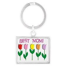Best Mom Tulips Landscape Keychain