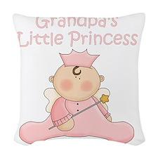 grandpas little princess Woven Throw Pillow