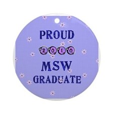 2-2010 msw graduate background Round Ornament