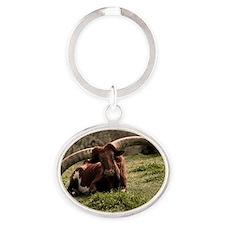 (3) Watusi Cow Oval Keychain