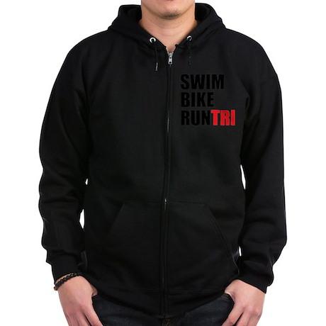 Swim-Bike-Run-Tri Zip Hoodie (dark)