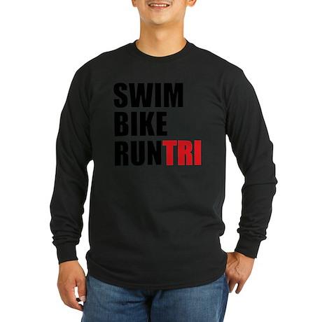 Swim-Bike-Run-Tri Long Sleeve Dark T-Shirt