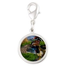 (4) Wood Duck Wing Silver Round Charm