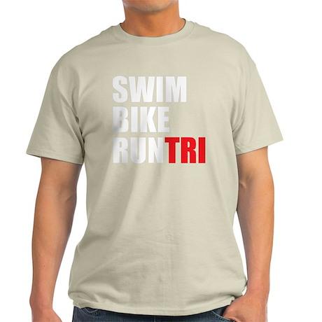 Swim-Bike-Run-Tri-WHITE Light T-Shirt
