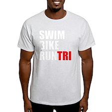 Swim-Bike-Run-Tri-WHITE T-Shirt