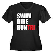 Swim-Bike-Ru Women's Plus Size Dark V-Neck T-Shirt