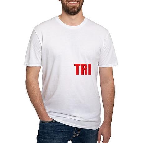 Swim-Bike-Run-Tri-WHITE Fitted T-Shirt
